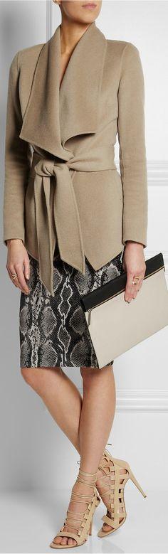 Donna Karan jacket  & Skirt ● Victoria Beckham clutch