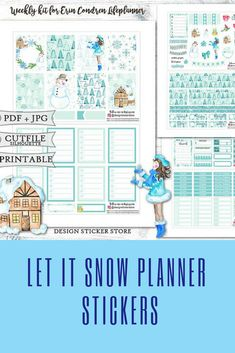 Let it snow winter themed weekly sticker kit for the Erin Condren Life Planner and similar planners. #commissionlink #erincondren #plannerstickers #stickers #winter
