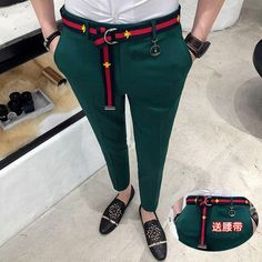 4 Solid Color Mens formal Pant Green Red White Black Skinny Fit dresssTrousers Men Pantalon Casual Homme Ankle Pant With Belt Formal Trousers For Men, Formal Dresses For Men, Formal Men Outfit, Slim Fit Dress Pants, Mens Dress Pants, Men Dress, Trousers Mens, Man Pants, Green Pants Men
