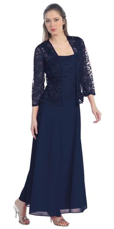 Long Chiffon Navy Blue Mother of Groom Dress Lace Long Sleeve Jacket