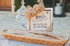"""Let Love Glow"" Glow sticks for guests at the Bride and Groom's wedding exit"