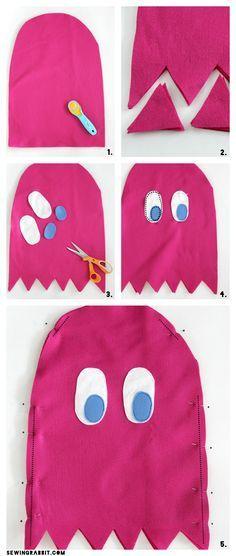 Pac-Man Ghost Easy Costume DIY via @mesewcrazy   Easy DIY Costume   Halloween…