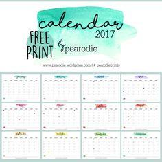 Free Print Printable Calendar 2017 full year Freebie by Pearodie Watercolor Aquarell Pearodieprints