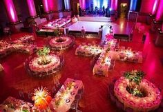 Stunning setup with fabulous magenta #uplighting & decor! Great photo via #Weddingthemeplanner #theknot