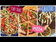 """Recetas VEGANAS FÁCILES!! - UN DIA EN LA COCINA CONMIGO ♥ PAD THAI/""""PIZZA""""/GALLETAS - YouTube"""