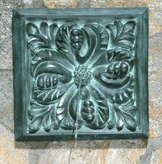 Outdoor Wall Garden Fountains - Bronze Acanthus Leaf #gardenfountains