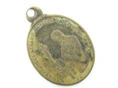 Antique French Saint Gerard - Our Lady Perpetual Help Catholic Medal - Religious Charm - Bronze Medallion by LuxMeaChristus