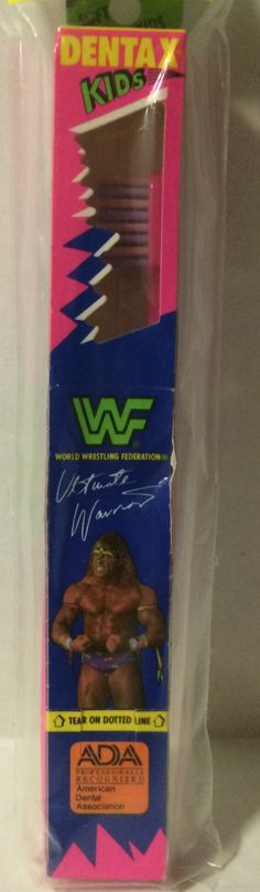 (GBS04488) - WWF WWE WCW nWo Wrestling Dentax Kids Toothbrush - Ultimate Warrior