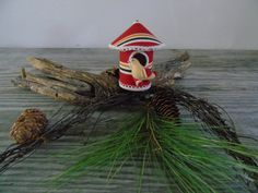 Bird House Christmas Ornament Japan  Vintage ornament from bygone days of childhood Flocked Bird and Striped Fabric Covered Cardboard App. 4