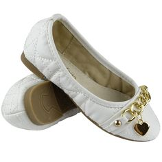 Kids Ballet Flats Quilted Gold Heart Accent Casual Slip On Shoes White Size Girls Ballet Flats, Ballet Kids, Ballerina Flats, Casual Slip On Shoes, Slip On Dress Shoes, Tory Burch Flats, Heart Of Gold, Girls Shopping, Grandkids