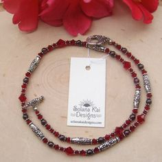 Swarovski Crystal Glass And Silver-Plated Pewter Rose Necklace in Reds | SolanaKaiDesigns - Jewelry on ArtFire