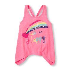 Girls Sleeveless Racer Back Shark-Bite Tank - Pink - The Children's Place