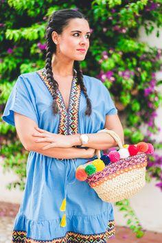 Summer colors dress vestido pasamaneria etnica ethnic style trenzas boxeadora…