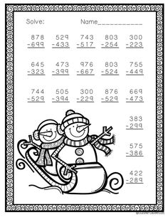 Need extra subtraction practice? These printables focus on three digit subtraction. Most problems require regrouping. No prep, just print and go. There is an answer key included. Subtraction Worksheets, Printable Math Worksheets, Kindergarten Worksheets, Free Printable, Second Grade Math, 4th Grade Math, Math Resources, Math Activities, Christmas Math Worksheets
