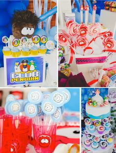Disney's Club Penguin Themed Birthday Party - Kara's Party Ideas - The Place for All Things Party Penguin Birthday, Penguin Party, Disney Birthday, Club Penguin, Fun Party Themes, Birthday Party Decorations, Party Ideas, Yellow Birthday Parties, Party Mottos
