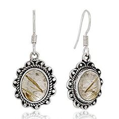 "Amazon.com: 925 Sterling Silver Golden Rutile Rutilated Quartz Gemstone Rope Edge Vintage Dangle Earrings 1.4"": Jewelry"