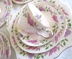 Vintage Teaset for Four, Tuscan China, Lilac Time, Pastel Pink China, 13 pieces