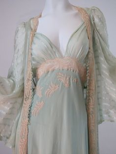Heirloom Vintage 30's Bridal Trousseau Silk Peignoir Set, Nightgown and Robe