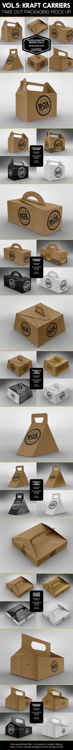 Food Pastry Boxes Vol.5: Kraft Carrier Boxes | Take Out Packaging Mock Ups                                                                                                                                                                                 More