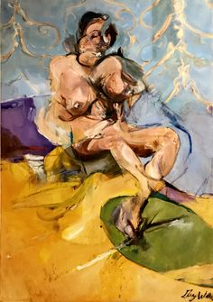 """""""Woman Seated on Bed"""" presents the conflict of the personal internal struggle of it's subject, by Guy Walker, oil on canvas, 38x54, $3900. . . . . contemporary art for sale, palm springs, art, art gallery, art collector, fine art, modern art, abstract art, abstract painting, contempory painting, interiors, interior design, interior decor, interior design ideas, interior designer, los angeles art, losangeles design, los angeles interior designer"""