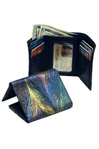 """This unisex marbled leather wallet holds cards with center ID window. Double bill compartment. 3"""" x 4-1/2"""" folded."""