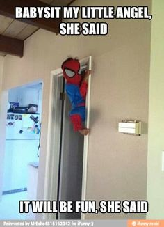 Funny pictures about Babysitting Spiderman. Oh, and cool pics about Babysitting Spiderman. Also, Babysitting Spiderman. Haha Funny, Funny Cute, Funny Kids, Funny Stuff, Funny Things, Random Stuff, Funny Shit, Funniest Things, Kid Stuff
