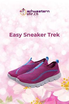 Frühlingsgefühle 🤩🌷Easy Sneaker Trek Lila. Die beliebten EasySneaker mit spezieller Sohle für zusätzliche Dämpfung. Besonders geeignet für lange Spaziergänge, Trekking oder für alle, die berufsbedingt lange und oft auf den Beinen stehen. Jetzt bei schwesternuhr.ch bestellen - Ohne Versandkosten. Schweizer Unternehmen.  #schwesternuhrch #schwesternschuhe  #sneaker #easysneaker #fitness Walking, Trek, Easy, Running Shoes, Slip On, Sneakers, Fashion, Lilac, Comfortable Work Shoes