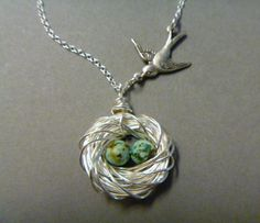 Bird Nest Necklace - Bird Jewelry - Family of Birds - Silver - Mother's Day Gift - Mother of the Bride - Mommy Necklace - femmart by FemmartJewelry on Etsy https://www.etsy.com/listing/105291416/bird-nest-necklace-bird-jewelry-family