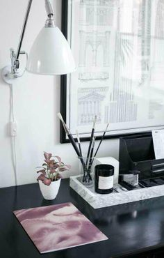 workspace decorating with trays