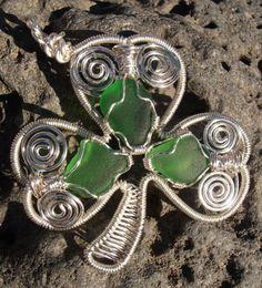 Shamrock wire pendant with genuine sea by SeaglassPetraDesigns