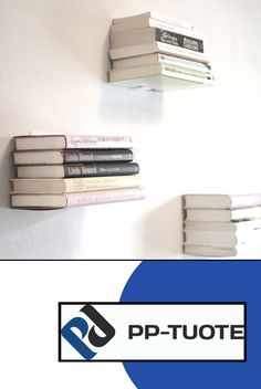PP-TUOTE from Finland - 'Leijuva', Invisible Floating Bookshelf in Steel, Pack of White Emily Giffin, Stack Of Books, Card Case, Bookshelves, Illusions, Eyeshadow, Lipstick, Steel, Wall