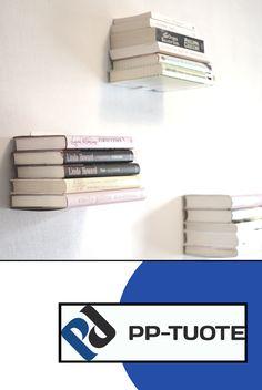 """Leijuva ist Finnisch und bedeutet schweben - dieses """"schwebende"""" Bücherregal von PP-Tuote erzeugt die Illusion von einem schwebenden Stapel Büchern. Das unterste Buch ist teilweise, gemeinsam mit den übrigen aufeinander gestapelten Büchern von dem Gestell umhüllt. Verwenden Sie mehrere Regale für ein beeindruckendes Aussehen Ihrer Wand."""