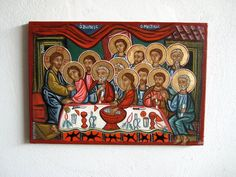The Icon of Last Supper of Christ. A rough gessoed canvas hand-painted with egg-tempera with haloes made of copper gold. The icon is inspired by a medieval fresco in panagia Kera in Kritsa, a very beautiful Church of my island Crete. I like the more folk - like almost naive representation where the colours are very bright. The Lord is seated on the one side next to His favorite disciple John- On the other side is Peter. Right on the center the only one, not looking on the Lord, reaching his…