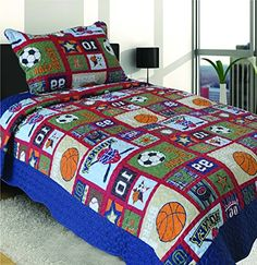Kids' Quilts - Mk Collection 2 Pc Bedspread Boys Sport Hockey Basketball Baseball Soccer Patchwork Blue Orange Red New 007 * You can find more details by visiting the image link.