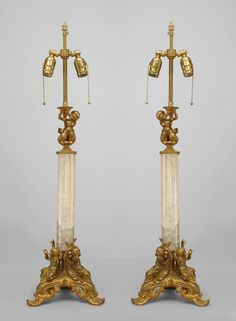 French Victorian lighting table lamp rock crystal