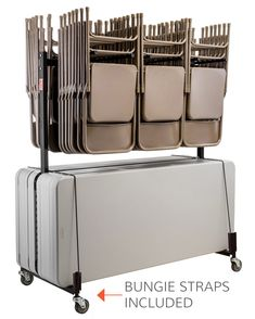 Hanging Folding Chair and Table Storage and Transport Cart - Holds Up To 42 Chairs and 10 Tables - FoldingChairsandTables.com