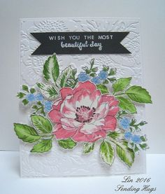 Here's another card using my new Altenew Beautiful Day stamp set.  supplies: white and black cardstock, Altenew Beautiful Day clear stamp set, pink and green inks, and blue and green markers to color,