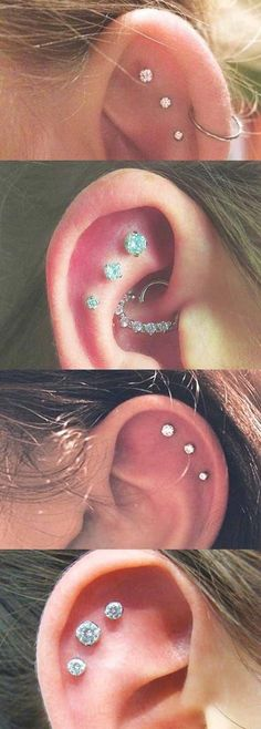Piercings Ideas for ONLY the Trendiest! Ear Piercings Ideas for ONLY the Trendiest!Ear Piercings Ideas for ONLY the Trendiest! Innenohr Piercing, Ear Piercings Tragus, Cute Ear Piercings, Body Piercings, Cartilage Earrings, Stud Earrings, Upper Ear Piercing, Tongue Piercings, Piercings Ideas
