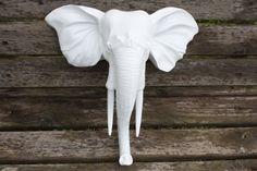 Wall Mount Elephant Head / Faux Taxidermy / Wall Decor / Modern / Glossy White, $55.00