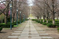 Walkway at the Nelson-Atkins Museum of Art in Kansas City, Missouri.