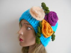 Knitted HatsDeep Sky Blue CapsHats HippieHats by YASEMINYASEMIN