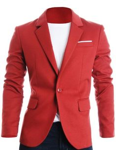FLATSEVEN Mens Slim Fit Casual Premium Blazer Jacket Red