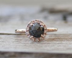 Jet Black Rose Cut Diamond with White Diamond Haloin14K Rose Gold