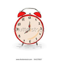 Vintage red hand drawn alarm clock on the white background.