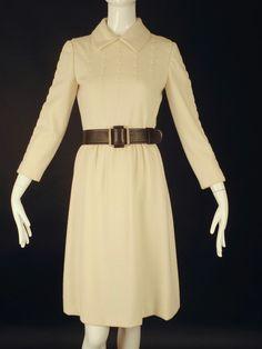 TEAL TRAINA-1960s Winter White Wool Knit Dress, Bust-34
