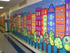City Mural Community building art.  Each student can make a building and a tree and it can be combined to create a collaborative art piece.