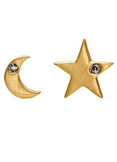 Star and Moon Earrings 10 Karat Yellow Gold