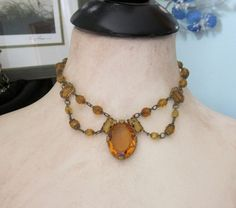 1930s CZECH Amber Glass Festoon Necklace Vintage by jryendesigns, $119.00