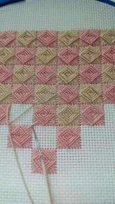Discover thousands of images about Norwich stitch The Norwich stitch, a combination of weaving and sewing. Can't wait to try this out - Salvabrani Nice for a needlepoint background This Pin was discovered by Hal Hand Embroidery Tutorial, Hand Embroidery Stitches, Ribbon Embroidery, Cross Stitch Embroidery, Embroidery Patterns, Sewing Patterns, Crochet Patterns, Learn Embroidery, Bargello Needlepoint