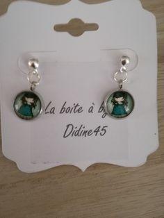 """boucles d'oreilles cabochon """"petite fille Gorjuss"""" cabochon de verre : Supports boucles d'oreilles par didine45"""